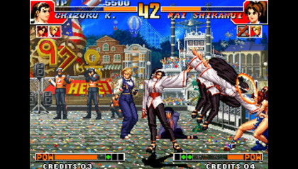 This is King Of Fighters '97, which is COMPLETELY different to KOF '96 and '98, obviously.